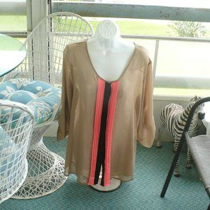 ❤️ Spoiled Sheer Tan Drapped Blouse XL Sleeve 3/4